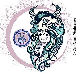toro, zodiaco, decorativo, segno