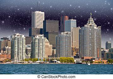 Toronto. Beautiful view of city skyline from Lake Ontario at nig
