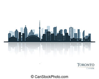 Toronto blue skyline silhouette with reflection.