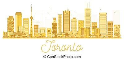 toronto, canadá, cidade, dourado, silhouette., skyline