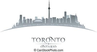 toronto, canadá, ontário, cidade, ilustração, silhouette., skyline, vetorial