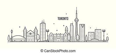 toronto, canada, città costruzioni, grande, orizzonte, vettore