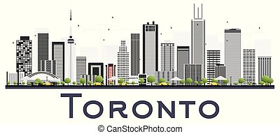 Toronto Canada City Skyline with Color Buildings Isolated on White Background. Vector Illustration. Business Travel and Tourism Concept with Modern Architecture. Toronto Cityscape with Landmarks.