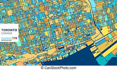 Toronto,Canada, Colorful Vector Artmap