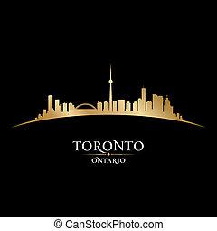 toronto, canada, ontario, ville, illustration, silhouette., horizon, vecteur