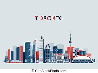 toronto, canada, plat, horizon, vecteur, branché, ville