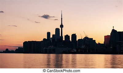 Toronto, Canada, Timelapse - Close up of the skyline from Day to Night