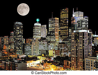 Toronto center. Night city view. Canada.