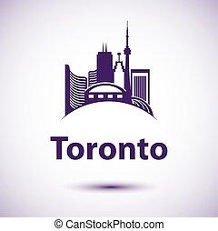 toronto, cidade, ontário, marcos, skyline, vetorial, canada.