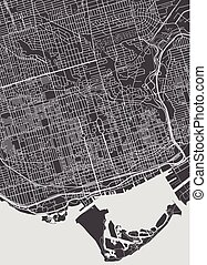 Toronto city plan, detailed vector map