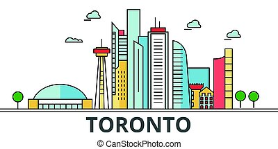 Toronto city skyline. Buildings, streets, silhouette, architecture, landscape, panorama, landmarks. Editable strokes. Flat design line vector illustration concept. Isolated icons on white background