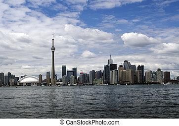 Toronto city skyline with CN tower