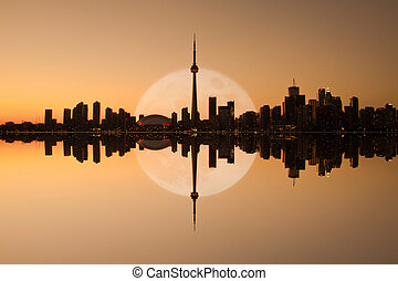 toronto, cityscape, reflet