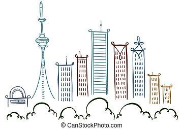 Toronto Downtown - Cartoon line drawing of downtown Toronto,...