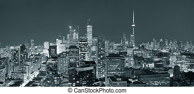 Toronto dusk - Toronto at dusk with city light and urban...