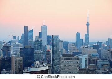 Toronto dusk - Toronto at dusk with city light and urban ...