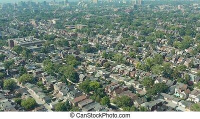 toronto, establishing, 4k, neighborhood., coup, aérien