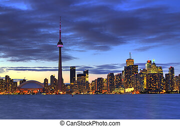 Toronto from the island with CN tower in hdr