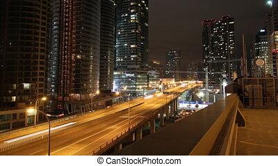 Toronto highway at night. Timelapse