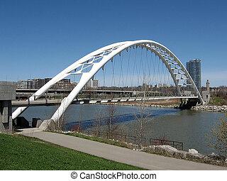 Beautiful Humber Bay Arch Bridge on bank of lake Ontario in Toronto, Canada