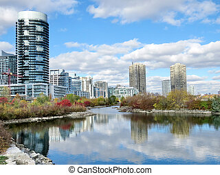 Complex of buildings Humber Bay on bank of the Lake Ontario in Toronto, Canada, November 4, 2016