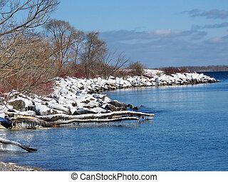 Toronto Lake the view of the winter shore 2018