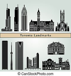 Toronto landmarks and monuments isolated on blue background...