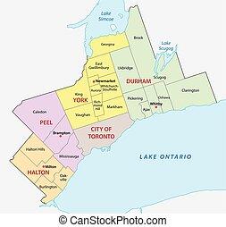 toronto, mapa, maior, área