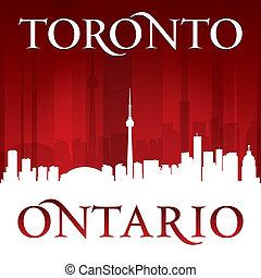 Toronto Ontario Canada city skyline silhouette red background