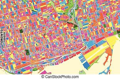 Toronto, Ontario, Canada, colorful vector map