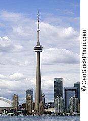 toronto, perfil de ciudad, con, torre de cn