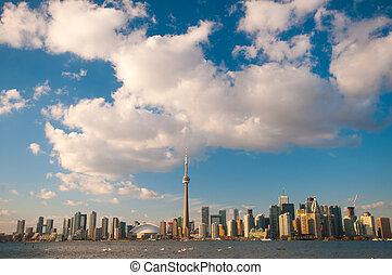 toronto, perfil de ciudad, en, debajo, cielo azul