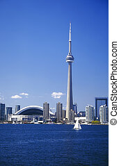 toronto sailing - View of Toronto and sailboat