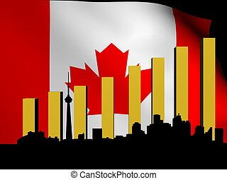 Toronto skyline and graph over flag