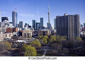 Toronto skyline and the view in city center