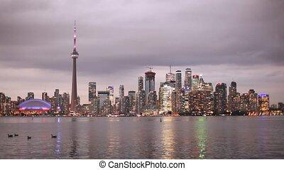 Toronto skyline at night, Canada - Toronto downtown skyline...