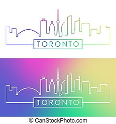 Toronto skyline. Colorful linear style.