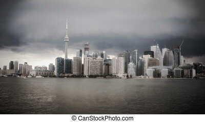 Toronto Skyline from a ferry in stormy weather - Toronto...