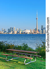 Toronto skyline from park - Toronto skyline in the day over...
