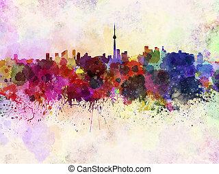 Toronto skyline in watercolor background