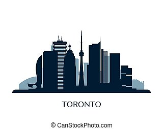Toronto skyline, monochrome silhouette.