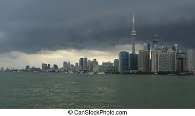 Toronto Skyline on a stormy day. - Toronto Skyline from Lake...