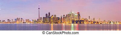 Toronto Skyline panorama - Toronto Skyline at dusk, Ontario,...