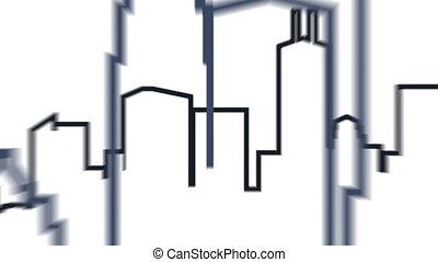 Pass through Toronto skyline composed of linework.