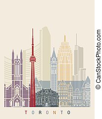 Toronto skyline poster in editable vector file