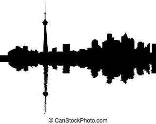 Toronto skyline reflected with ripples illustration