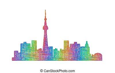 Toronto skyline silhouette - multicolor line art