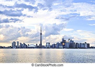 Toronto skyline - Toronto city waterfront skyline in late...