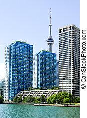 Toronto skyline - Toronto harbor skyline with CN Tower and ...