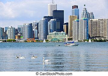 Toronto skyline - Toronto harbor skyline with skyscrapers ...